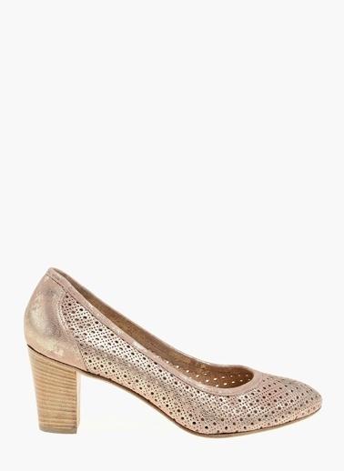 Divarese Hakiki Deri Kalın Topuklu Ayakkabı Altın